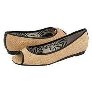 Steve Madden BONTI Raffia Peep Toe Flats